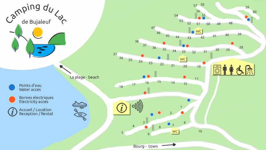 plattegrond camping du lac de bujaleuf